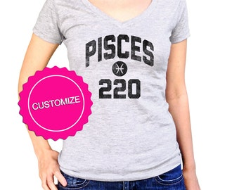 Personalize Birthday Pisces Shirt - Astrology Shirt - Pisces Birthday - Pisces Gift - Pisces Sign (See SIZING CHART in Item Details)