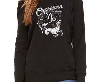 Vintage Capricorn Scoop Neck Sweatshirt - Occult Horoscope Zodiac - Off the Shoulder