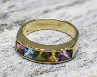 18K Gold Multi-colored Tourmaline Vintage Ring