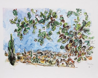 """Chaim Gross Limited Edition Art Lithograph """"Nazareth"""" Vintage 1980 # 7/250 free shipping"""