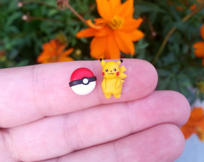 Pikachu stud or magnetic earrings. Pokemon jewelry. Pokeball jewelry. Kawaii. Clay. Poke Ball stud. Pokemon go jewelry.  Geekery jewels.