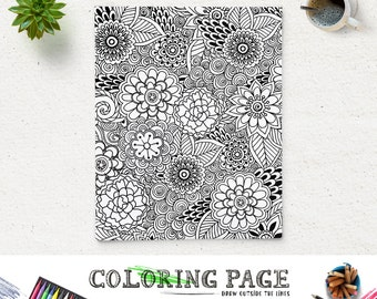 SALE Printable Coloring Page Floral Doodle Pattern Adult Book Anti Stress Instant Download Zen