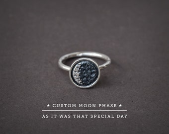 Silver Moon Ring,Moon Phase Ring,Moon Date Silver,Special Date Moon,Anniversary Gift,Custom Moon Date,Custom Moon Ring,Personalized Ring