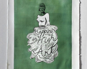 Happiness or High Art—contemporary mid century painting, female fashion linocut print, graphic pop art printmaking woman portrait typography
