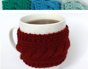 Wine red Knit cup, knit coffee cozy, cup warmer, coffee cozy, red cup sleeve, cozy cup, knit mug cozy, mug warmer, tea cup cozy
