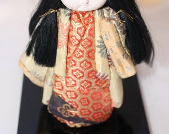 On Sale!  Beautiful Vintage Kimekomi Doll with a Red and Gold Kimono Japan Doll Hand Made Brocade