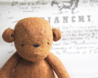 Brown Felt Teddy Bear-Bear Toy-Handmade Teddy Bear- Woodland Bear-Tati Brown Woodland Bear-Made to Order