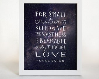 Carl Sagan Quote, Typographic Print, Home Decor, Inspirational Quote, Gifts Under 50, Modern Typography, Cosmos Print