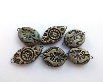 6 Rustic connector beads - ceramic bracelet - raku ceramic necklace beads - artisan beads for jewelry making