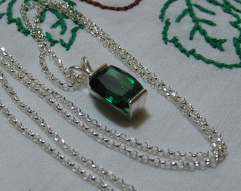 Green Topaz Sterling Silver Pendant Necklace Cushion Cut