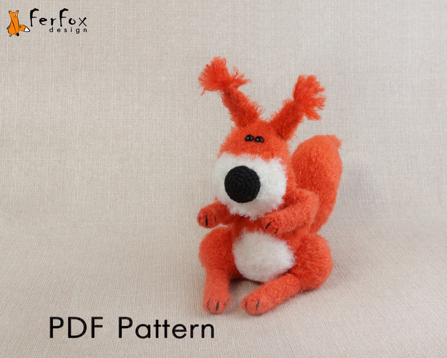 Amigurumi Woodland Animals Patterns : Crochet squirrel PATTERN Amigurumi squirrel pattern ...