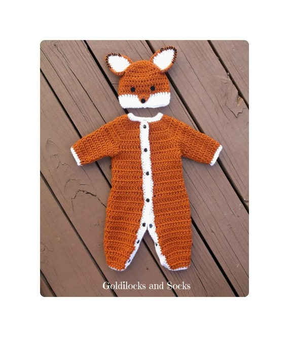 Baby fox outfit, newborn crochet outfit, infant animal outfit, newborn Halloween, crochet winter outfit, newborn photo prop, Halloween