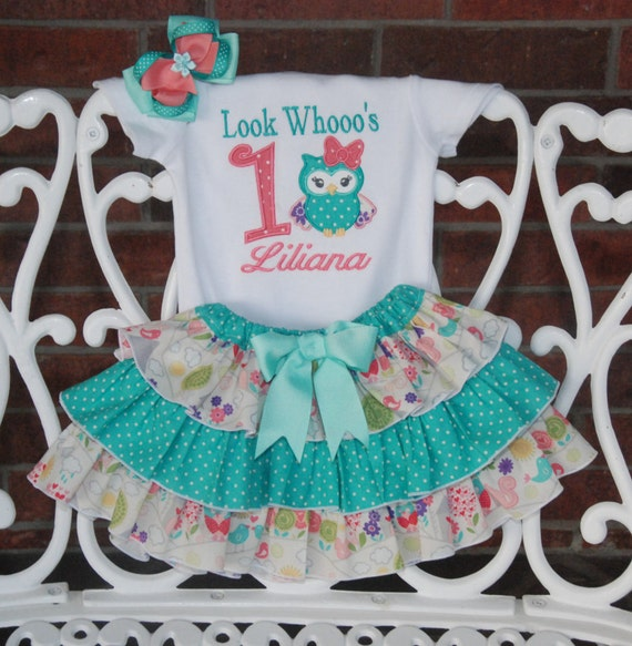Owl First Birthday Outfit Baby Girl First By RuffleDarlings