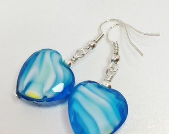 Blue Beaded Lampwork Earrings Blue and White Swirl Earrings Sea Blue Heart Drop Earrings Glass Bead Jewelry Gift for Her Love Heart Earrings