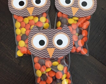 Owl Bag Topper. Perfect Party Favor for Fall, Owl, Woodland Theme. Digital Instant Download. Custom Colors available.