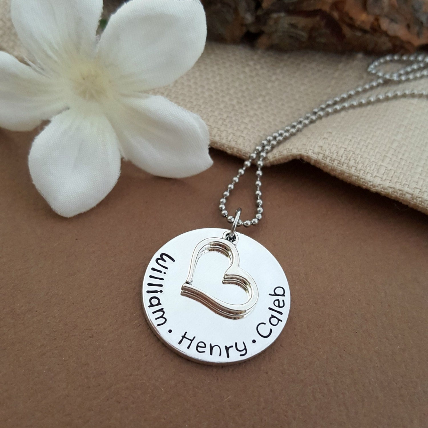 personalized mothers necklace stamped with kids names simple. Black Bedroom Furniture Sets. Home Design Ideas