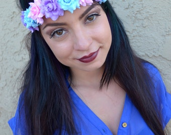 Pastel Rose Headband - Flower Headband - Leather Headband - Flower Crown - Rose Hairband - Festivals - Raves - Bohemian