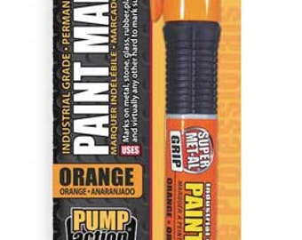 SUPER MET-AL Paint Marker 04035 orange industrial grade pro grip pump action marks on metal stone glass rubber plastic wood leather