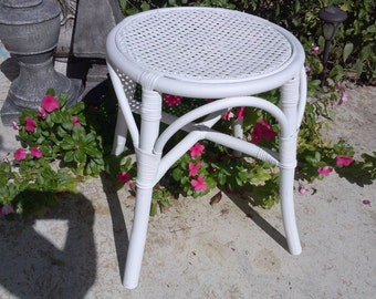 Bentwood Stool Charming with woven cane seat. Lovely vintage seating many placement uses, blends with wicker and for lovely decor statement.