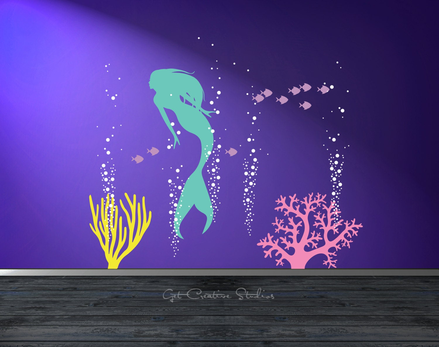 Little mermaid wall decals roselawnlutheran mermaid wall decal aquarium bubbles decal mermaid decal girls ocean decal deep sea wall decal little amipublicfo Images