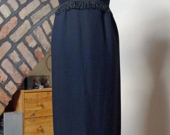 Stunning Vintage 1960s Black Column Dress, very Audrey Hepburn UK 8