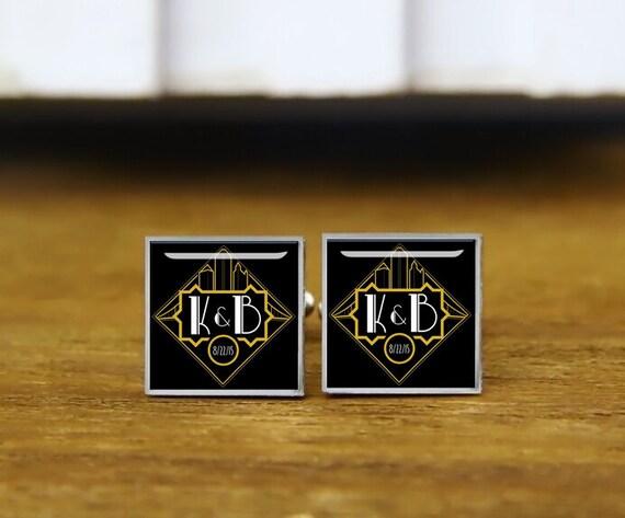 custom film style cufflinks, custom initials, date, personalized cufflinks, wedding cufflinks, round, square cufflinks, tie clips, or set