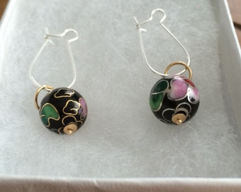 Women's Vintage Cloissone 14K & Enamel Floral Charm Drop Earrings