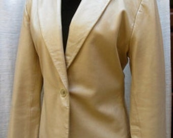 Gold  LAMB LEATHER Women's Jacket One Button
