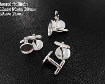 50pcs Silver French cufflinks blank, cufflink base, Brass with silver plated Cufflinks Bezel Setting  (3010355)
