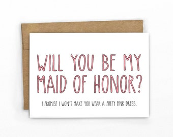 No Puffy Pink Dress! | Will You Be My Maid of Honor | Wedding Card by Cypress Card Co.