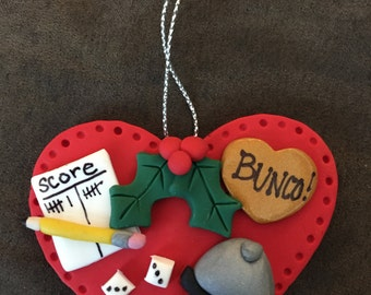 Handmade Clay Bunco/Bunko Christmas Ornament