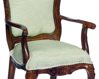 1:12 Scale Miniature Walnut Carved Rocaille Armchair