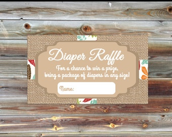 Burlap Baby Shower Diaper Raffle Card - Matching Diaper Raffle Card - Fall Theme Burlap Baby Shower Diaper Raffle - Baby Shower Invite