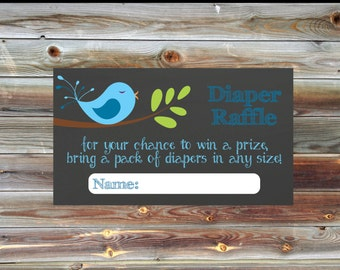 Bird Theme Baby Shower Diaper Raffle Card - Matching Diaper Raffle Card - Blue Bird Themed Baby Shower Diaper Raffle - Baby Shower Invite