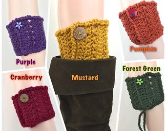 Autumn Boot Cuff Button Boot Toppers Mustard Cranberry Forest Green Purple Pumpkin Bootcuffs Fall Color Leg Warmers Crochet Boot Cuffs