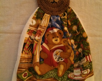 Christmas Teddy Bear Hanging Kitchen Towel