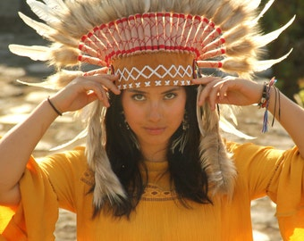 ON SALE White feathers Indian  Inspired headdress with tan hat, short length, feather headpiece native american style