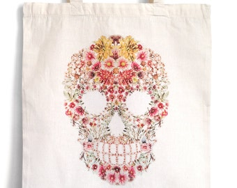 Tote bag, totebag, Fairtrade cotton bag, shopping bag , skull and flowers