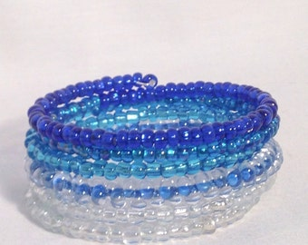 Blue bead bracelet, blue ombre bracelet, blue seed bracelet, blue memory wire bracelet, blue seed bead wrap bracelet