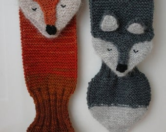 Kids winter scarf Fantastic Fox hand knit - fun, soft, warm, cute and cuddly childrens scarf. Available in several colors.