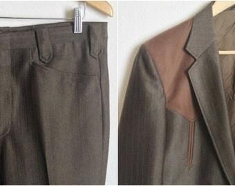 70s Brown Pant Suit Mens // Vintage Western Circle S Jacket // Medium Coat, 30 Inseam