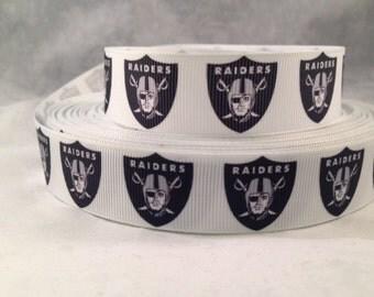"""Raiders Ribbon - Oakland Raiders 7/8"""" Grosgrain Ribbon by the yard, for hair bows,crafting and more!  Football Ribbon - Raiders"""