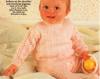 cbd8850cb1fb baby lacy sweater   leggings knitting pattern rompers romper suit jumper  pullups 18-20inch 4 ply baby knitting patterns pdf instant download