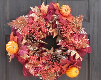 Deco Mesh Fall Wreath, Autumn Leaves Wreath, Fall Wreath, Red Wreath with Leaves for Fall Door Decor, Pumpkin Mesh Wreath for Autumn Decor