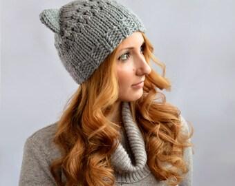 Gray Cat Hat, Knit Cat Ear Hat or Cat Beanie, Womens Cat Hat