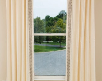 UP to 10% off Linen Drapery with Trim, Custom Drapes, Linen Panels with Trim and Lining
