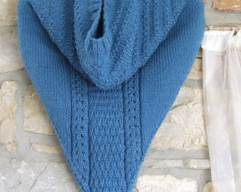 Knitted alpaca neck warmer - Knitted cowboy cowl  - Western style kerchief - Teal blue alpaca cowl with button up back
