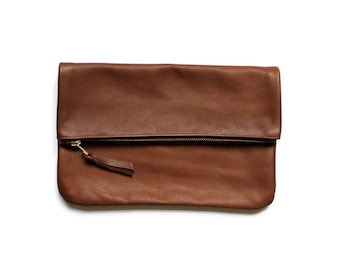 brown leather clutch, fold over, leather purse, leather wallet, leather pouch, foldover, eco