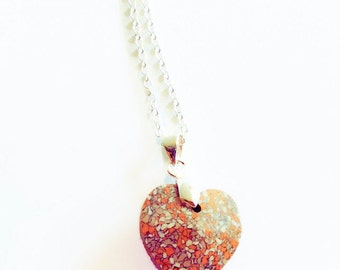 marble pendant necklace swarovski marble, heart necklace, red heart necklace, top selling items, minimalist necklace, handmade necklace