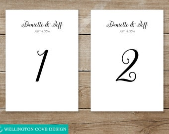 Personalized Table Numbers 1-30 for Wedding or Event • Custom Printable Digital File Download • Calligraphy Script 4x6 5x7 • Downloadable